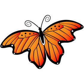 Butterfly With Orange Wings - Kostenloses vector #210783