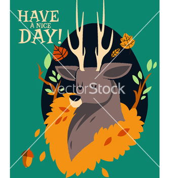 Free cartoon deer flat design vector - Free vector #210813