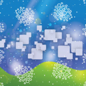 White Squars In Blue Green Background - vector gratuit #211093