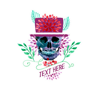 Free watercolor with skull vector - vector gratuit #211493