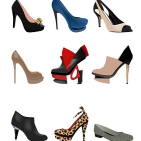 Stylish Women Shoes-Free Vector - бесплатный vector #211573