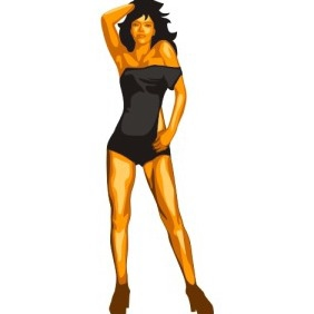 Dancing Woman - vector gratuit #211693