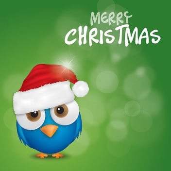 Merry Christmas Bird - vector gratuit #212163
