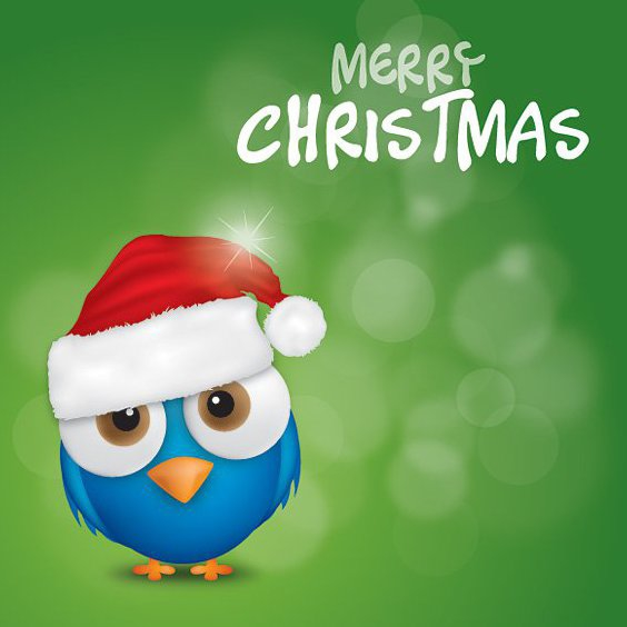 Merry Christmas Bird - Free vector #212163
