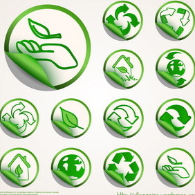 Ecology Sticker Set - vector #212633 gratis