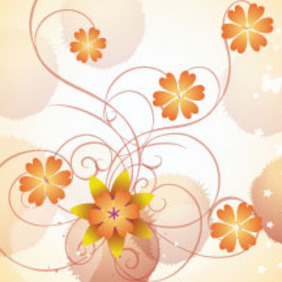Orange Flowers In Clear Vector Background - vector gratuit #212803