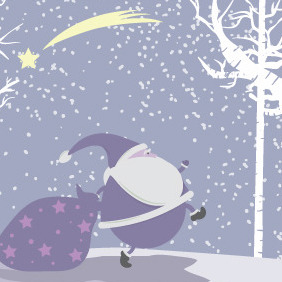 Snow Vector Christmas Illustration With Santa - vector gratuit #212993