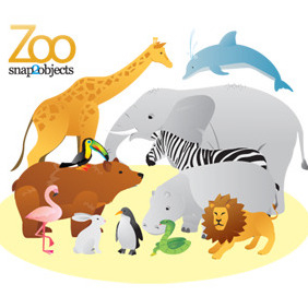 12 Free Vector Zoo Animals - бесплатный vector #213113