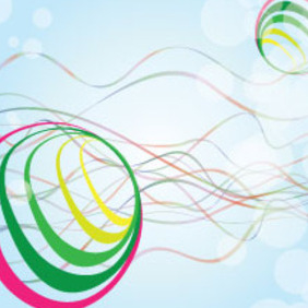 Colored Line With Colored Circles In Blue Background - vector gratuit #213123