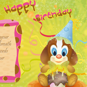Little Dog Happy Birthday Postcard - Free vector #213153