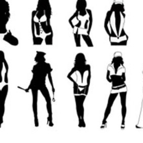 Sexy Girls Silhouettes Vector Pack. - бесплатный vector #213653