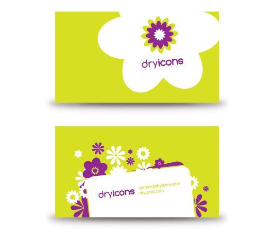 Flowery Business Card - Free vector #214083