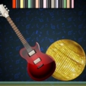 Disco Ball With Guitar - Kostenloses vector #214403