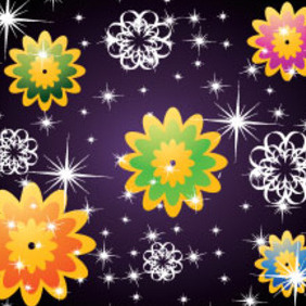 Stars & Flowers In Dark Background Free Vector - Free vector #214813