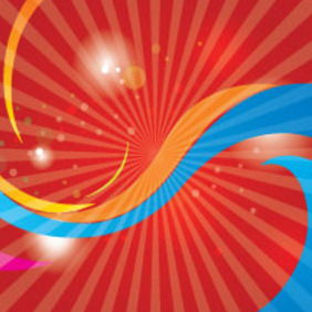 Red Abstract Background With Colored Lines - Free vector #215213