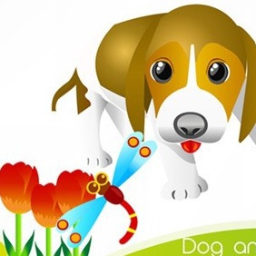 Free Vector Dog And Insert - Kostenloses vector #215283