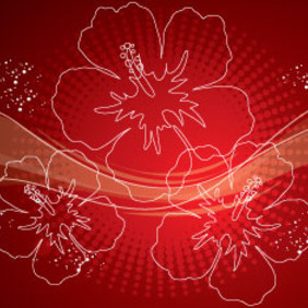 Red Ornament Flowers Free Vector Design - vector gratuit #215313