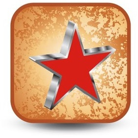 Vector Button With Red Star - Kostenloses vector #215913