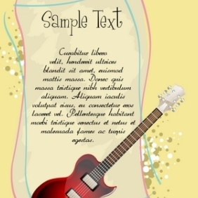 Guitar With Text Template - Kostenloses vector #216063