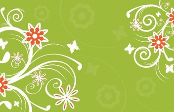 Flowers on Green - vector gratuit #216123