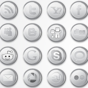 Silver Social Media Icon Pack - Kostenloses vector #216263
