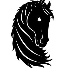Black Horse Head Vector - Free vector #216273