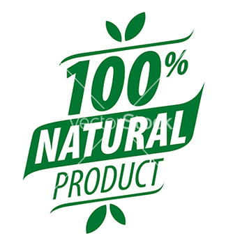 Free green logo for a 100 natural food vector - vector gratuit #216763