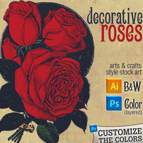 Roses Decorative Graphic: Arts & Crafts Style - vector #216773 gratis