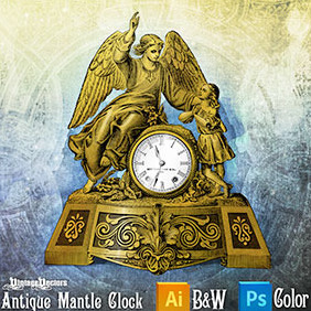 Antique Mantle Clock - vector #217463 gratis