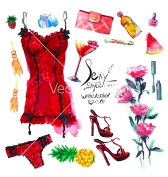 Free sexy style set of trendy look watercolor vector - Free vector #217563