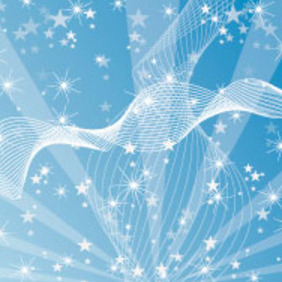 Line & Stars In Blue Vector Background - Kostenloses vector #217583