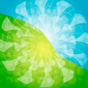 Blue & Green Ornament Vector - Free vector #217693