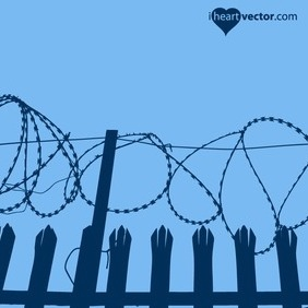 Barbed Wire Fence Vector - vector gratuit #217823