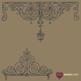 Antique Iron Ornament Vector Pack - vector gratuit #217953