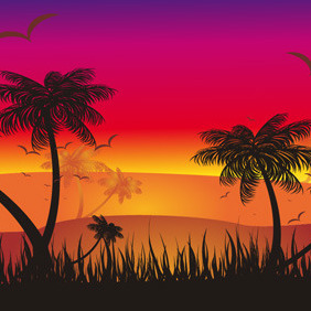 Tropical Sunset - Free vector #218293