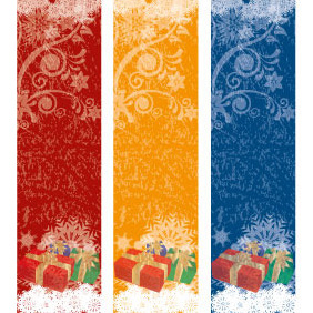 Set Of Xmas Vector Banners - vector gratuit #218363