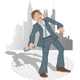 Drunk Man In The City Vector - Free vector #218373