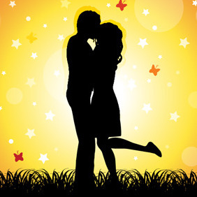Couple Kissing - vector gratuit #218423