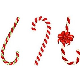 Set Of Christmas Candy Cane With Bow - Free vector #219173