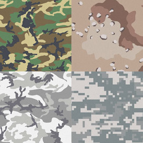 Free Camouflage Patterns For Illustrator & Photoshop - бесплатный vector #219443