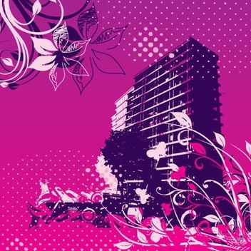 Buildings gone wild - Free vector #219473