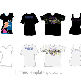 Clothes Template Vectors - vector gratuit #219563