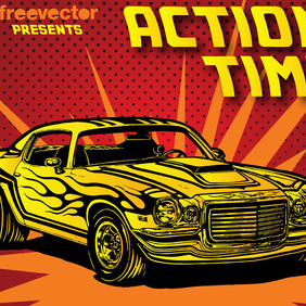 Seventies Car - vector gratuit #220173