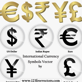 International Currency Symbols Vector - Free vector #220493