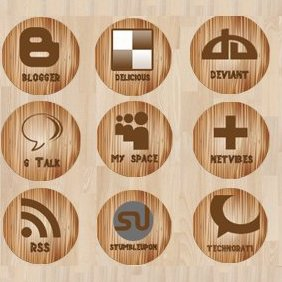 Wooden Social Media Icons - vector gratuit #221183