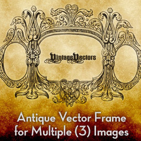 Antique Vector Frame For 3 Pics - vector #221613 gratis