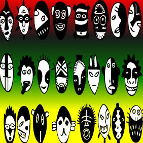Crazy Rasta Masks - бесплатный vector #221653