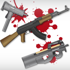 Machine Gun Set - vector #222143 gratis
