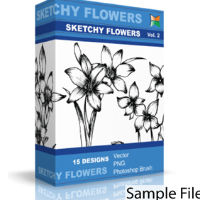 Sketchy Flowers - vector gratuit #222263