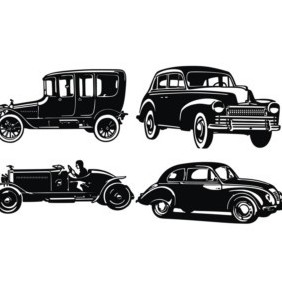 Old Car Silhouettes - бесплатный vector #222423